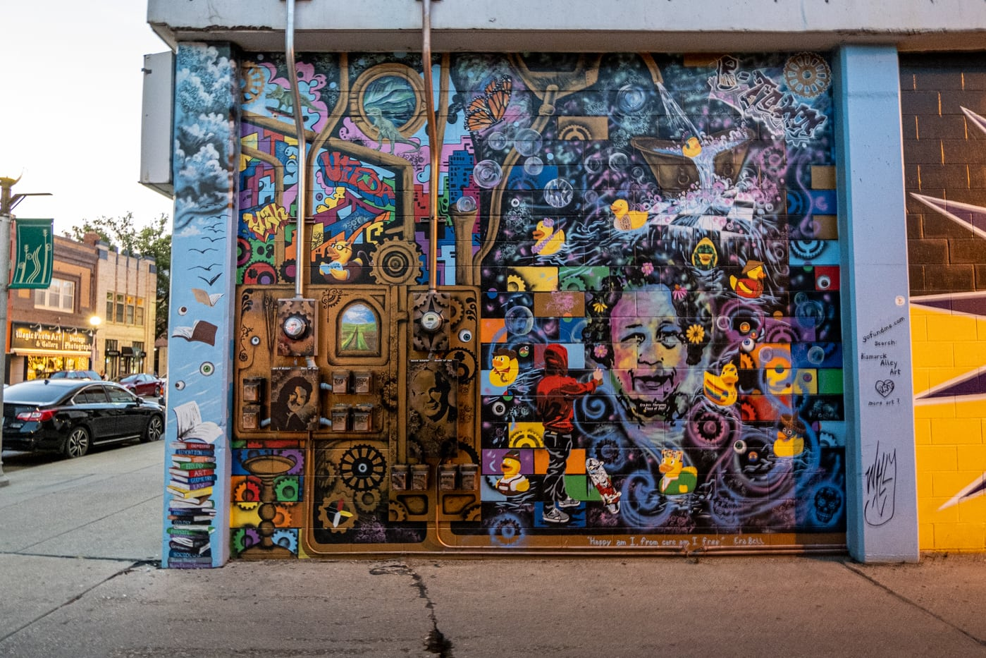 Mural created by a dozen art students at Bismarck High School. Alley 5.5: Bismarck Art Alley in North Dakota - Street art and Murals in Bismarck, North Dakota