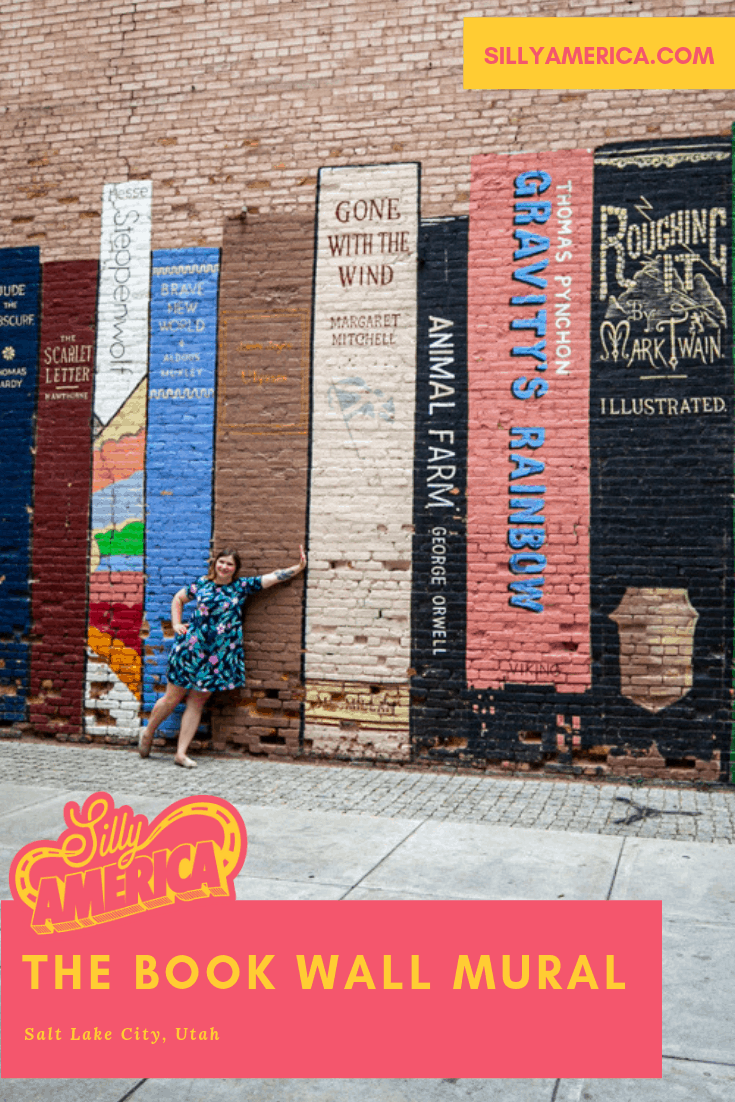 The Book Wall mural is a colorful interactive mural in downtown Salt Lake City, Utah that makes the perfect instagram backdrop for bibliophiles. Find this meaningful street art at Eborn Books. The outdoor mural is painted on a wall behind the urban bookstore. Check out this amazing and cool painting and get photography aesthetic inspiration for the graffiti. #Murals #StreetArt #OutdoorMural #PaintedMurals #meaningfulstreetart #coolstreetart #colorfulstreetart #streetartphotography #UtahTravel