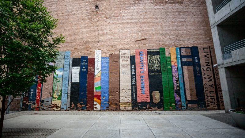 Book Wall Mural in Salt Lake City, Utah | Book Mural at Eborn Books in Salt Lake City | Utah Murals