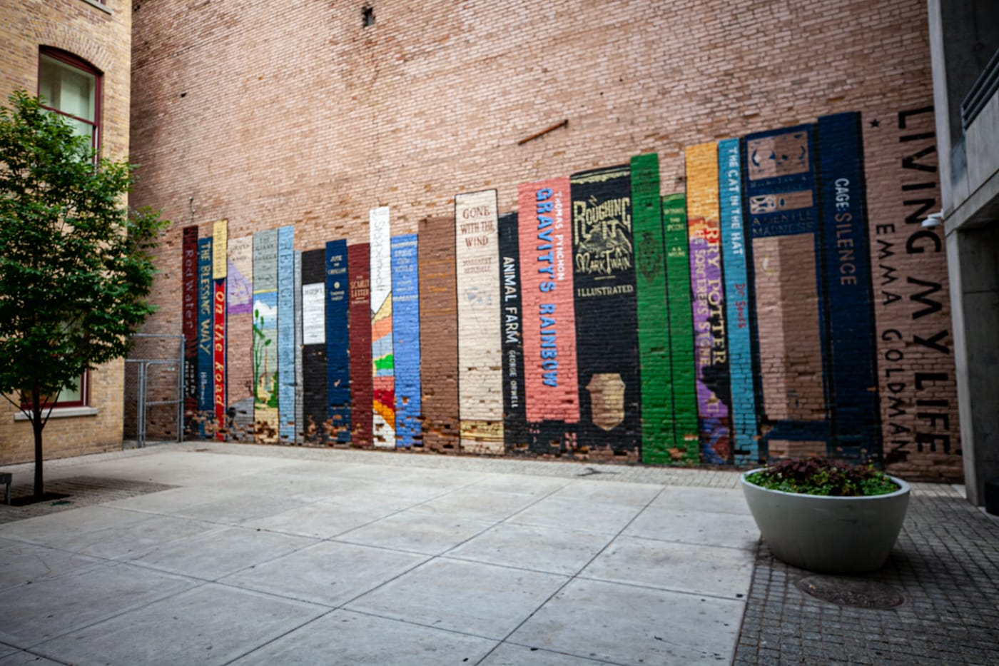 Wall of Books Mural in Salt Lake City, Utah | Book Mural at Eborn Books in Salt Lake City | Utah Murals