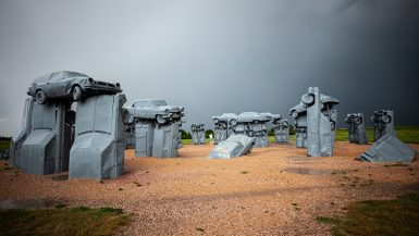 Carhenge in Alliance, Nebraska - Stonehenge made from cars roadside attraction in Nebraska.