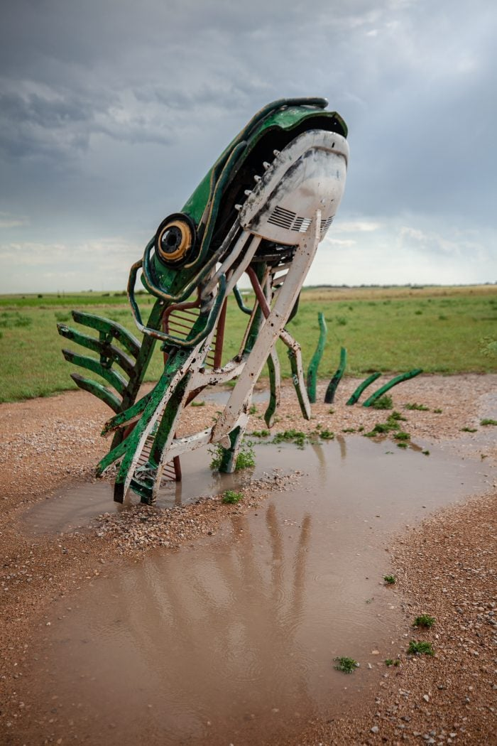 The Spawning Salmon sculpture at Carhenge Roadside Attraction in Alliance, Nebraska - Giant Fish Sculpture at Carhenge