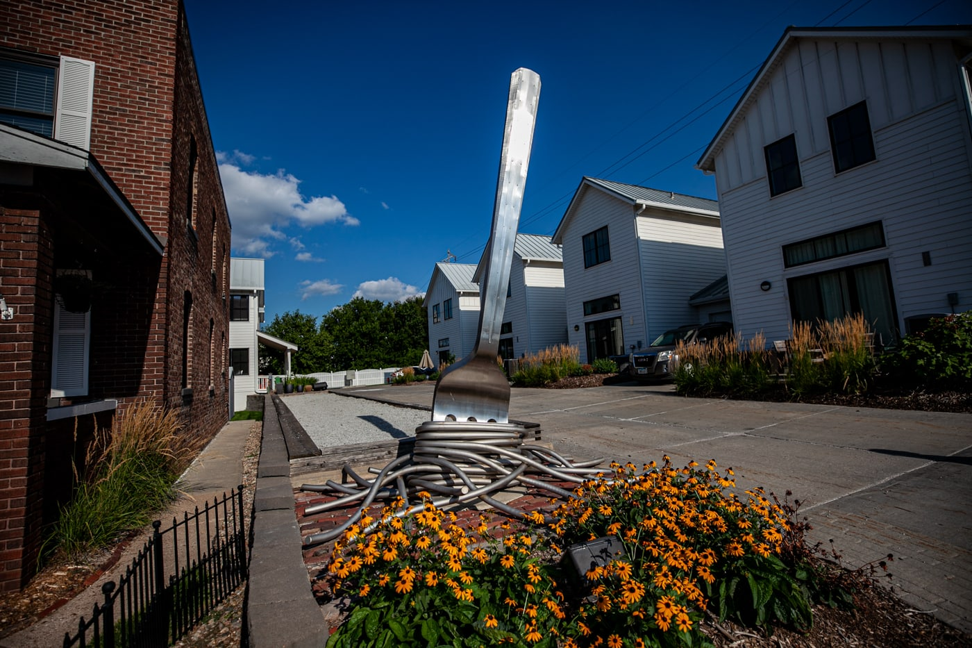 Stile di Famiglia - Family Style Giant Fork with Spaghetti in Omaha, Nebraska - Public Art in Omaha at the Towns of Little Italy - Omaha Roadside Attractions in Nebraska