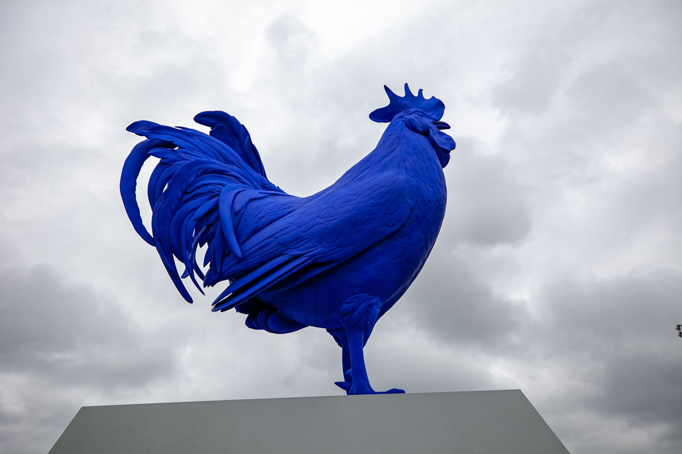 Katharina Fristc's Hahn/Cock - a big blue rooster -  at Minneapolis Sculpture Garden in Minnesota - Minneapolis roadside attractions in Minnesota