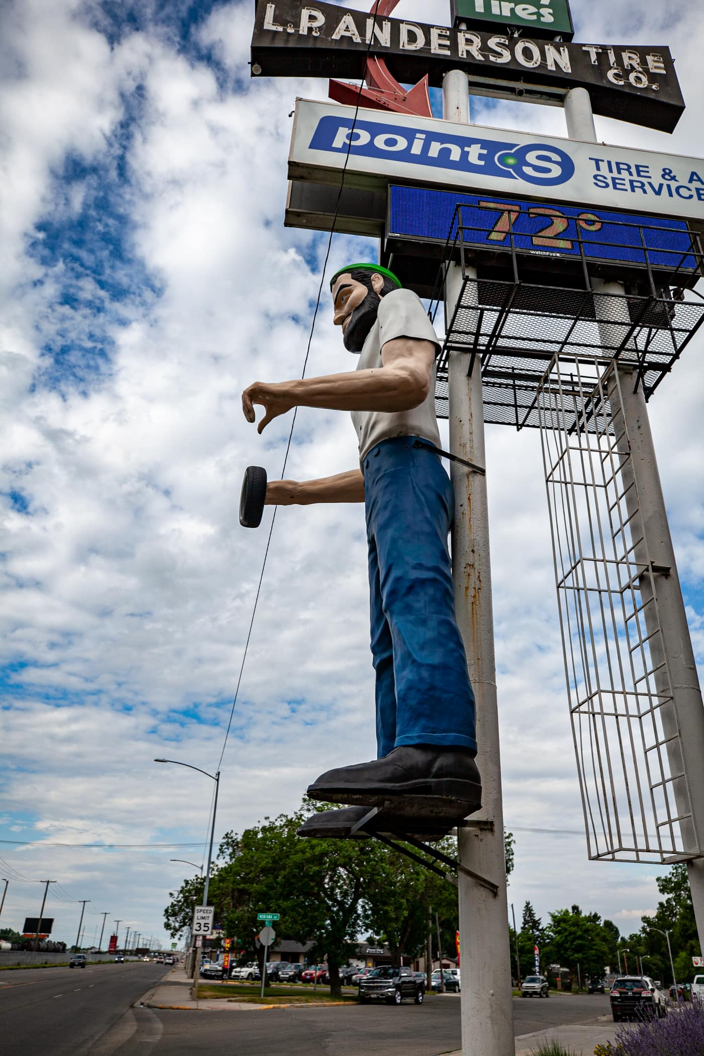 L.P. Anderson Tire Factory Muffler Man in Billings, Montana | Montana Roadside Attractions
