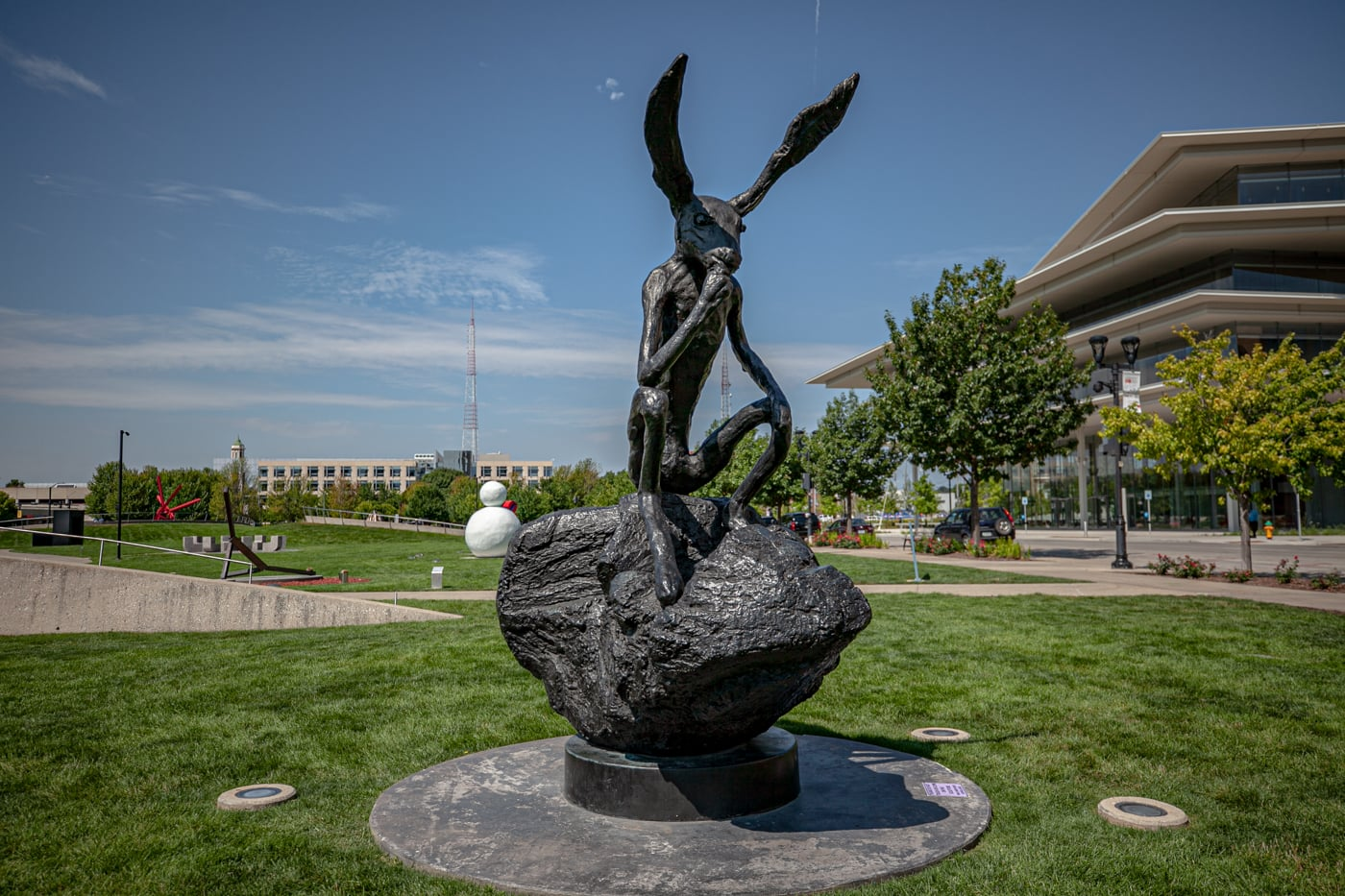 Barry Flanagan Thinker on a Rock Rabbit | Pappajohn Sculpture Park in Des Moines, Iowa