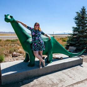 Sinclair Gas Station Dinosaur in Sinclair, Wyoming home of the Sinclair Refinery   Wyoming Roadside Attractions