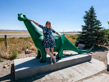 Sinclair Gas Station Dinosaur in Sinclair, Wyoming home of the Sinclair Refinery | Wyoming Roadside Attractions