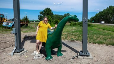 Sinclair Dinosaur in Thedford, Nebraska at a Sinclair Gas Station on the Sandhills Journey Scenic Byway | Nebraska Roadside Attractions