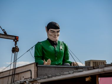 Star Trek Spock Muffler Man in Salt Lake City, Utah at Rainbow Neon Sign Company | Utah Roadside Attractions