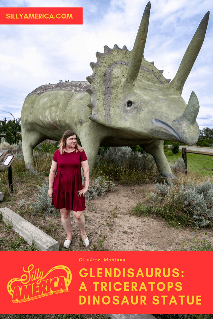 The ten-foot-tall life size Glendisaurus dinosaur statue is a Montana roadside attraction in Glendive. The giant dinosaur is a based on a Triceratops and makes a weird road trip stop on your Montana road trip. Add this to your travel bucket list or visit on your vacation with kids. #RoadsideAttractions #WeirdRoadsideAttractions #RoadTripStops #WorldsLargestRoadsideAttractions #RoadTrip #MontanaRoadsideAttractions #MontanaRoadTrip #MontanaRoadTripItinerary #MontanaRoadTripBucketLists