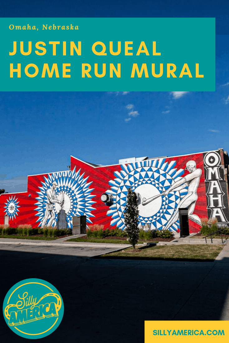 The blue and red Home Run mural by local artist Justin Queal depicts Omaha, Nebraska's unions and history as home of the College World Series. The colorful mural and outdoor street art makes the perfect instagram photo backdrop when visiting Austin. Check out this amazing and cool painting and get photography aesthetic inspiration for your travel photography. #Murals #StreetArt #OutdoorMural #PaintedMurals #amazingstreetart #coolstreetart #colorfulstreetart #streetartphotography #NebraskaTravel