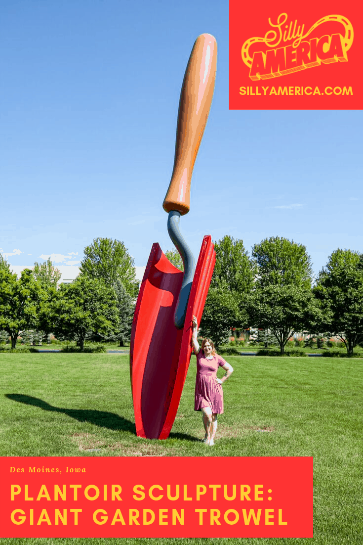 Claes Oldenburg & Coosje van Bruggen's Plantoir Sculpture (giant garden trowel) in Des Moines, Iowa is so big it could dig up all your soil in one swoop. Des Moines Public Art in Iowa roadside attractions to visit on an Iowa road trip and add to your travel bucket lists. A fun photography stop for a road trip with kids or adults! #IowaRoadsideAttractions #IowaRoadsideAttraction #RoadsideAttractions #RoadTrip #IowaRoadTrip #IowaThingsToDo  #IowaBucketList #IowaRoadTripIdeas #IowaTravel#IowaRoadsideAttractions #IowaRoadsideAttraction #RoadsideAttractions #RoadsideAttraction #RoadTrip #IowaRoadTrip #IowaThingsToDo #IowaRoadTripBucketLists #IowaBucketList #IowaRoadTripIdeas #IowaWaterfallsRoadTrip #IowaTravel