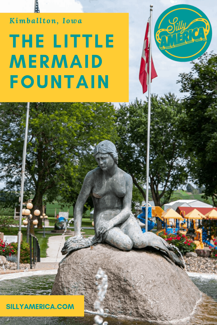 The Little Mermaid Fountain in Kimballton, Iowa is a bronze sculpture that is an exact replica of the beloved tourist attraction in Copenhagen Denmark. Add this weird roadside attraction to your Iowa road trip itinerary and travel bucket list. This thing to do is a fun stop for travel with kids or adults. #IowaRoadsideAttractions #IowaRoadsideAttraction #RoadsideAttractions #RoadsideAttraction #RoadTrip #IowaRoadTrip #IowaThingsToDo #WeirdRoadsideAttractions #RoadTripStops
