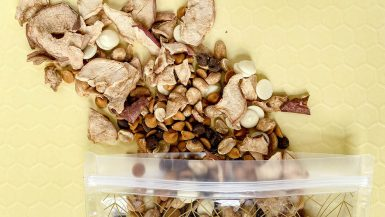 If you're looking for the perfect snack to pack on a fall road trip, look no further than this caramel apple snack mix made with apple chips, caramel chips, peanuts, and chocolate. It tastes just like your favorite candy apple and is so reminiscent of autumn flavors.