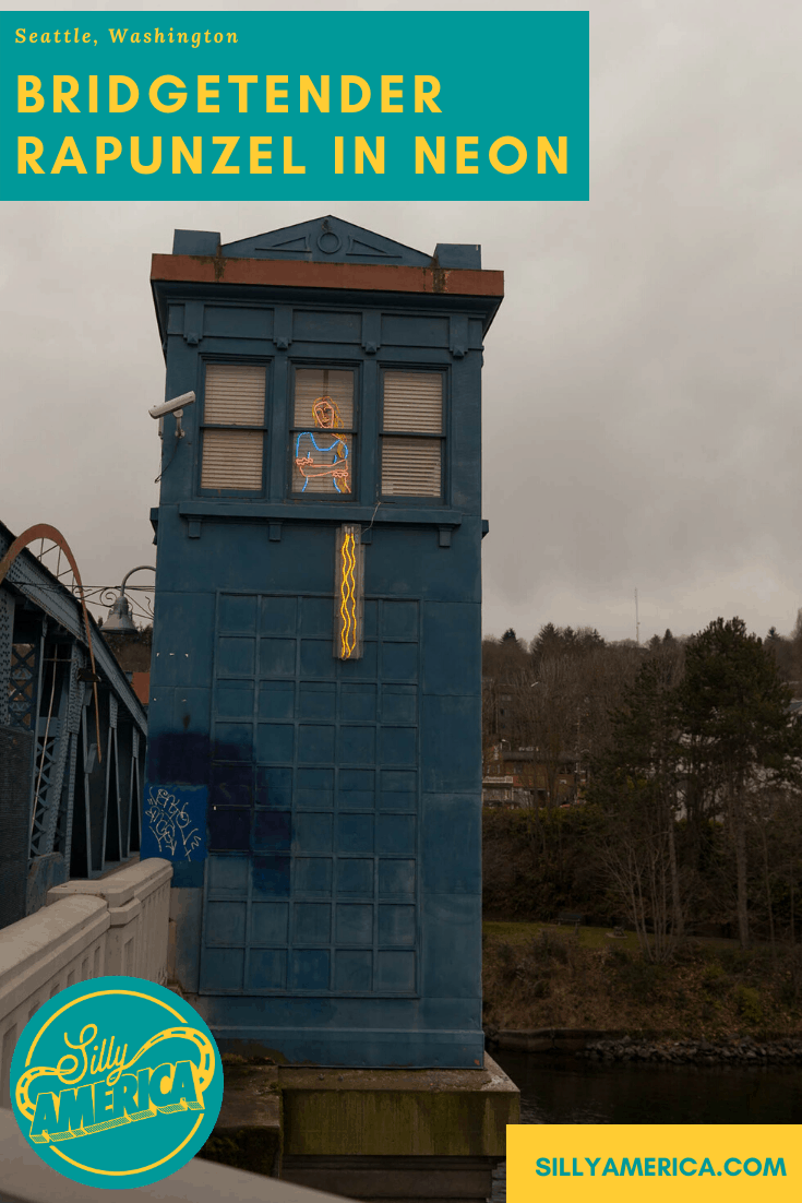 Yell out for the princess to let down her hair at this fairy tale inspired Seattle roadside attraction: Bridgetender Rapunzel in Neon on the Fremont Bridge in Seattle, Washington. The Washington roadside attraction is a must-see place to visit in Washington on a road trip or vacation.  #WashingtonRoadsideAttractions  #RoadsideAttractions #RoadsideAttraction #RoadTrip #WashingtonRoadTrip  #WashingtonRoadTripBucketLists #WashingtonBucketList #WashingtonWinterRoadTrip #SeattleRoadTrip