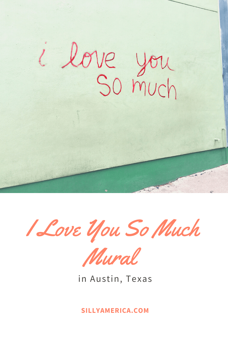 The I Love You So Much mural painted outdoors Jo's Coffee in Austin, Texas, has been written across the side of the building and attracting visitors since 2010. This meaningful street art makes the perfect instagram backdrop for photos. Check out this amazing and cool painting and get photography aesthetic inspiration for your travel photography. #Murals #StreetArt #OutdoorMural, #PaintedMurals #meaningfulstreetart #streetartaesthetic #coolstreetart #TexasTravel #AustinTexas