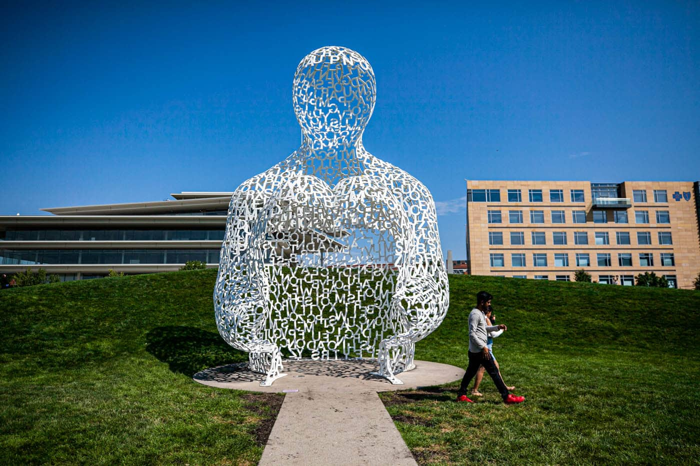 Nomade by artist Jaume Plensa | Figure made from white letters | Pappajohn Sculpture Park in Des Moines, Iowa
