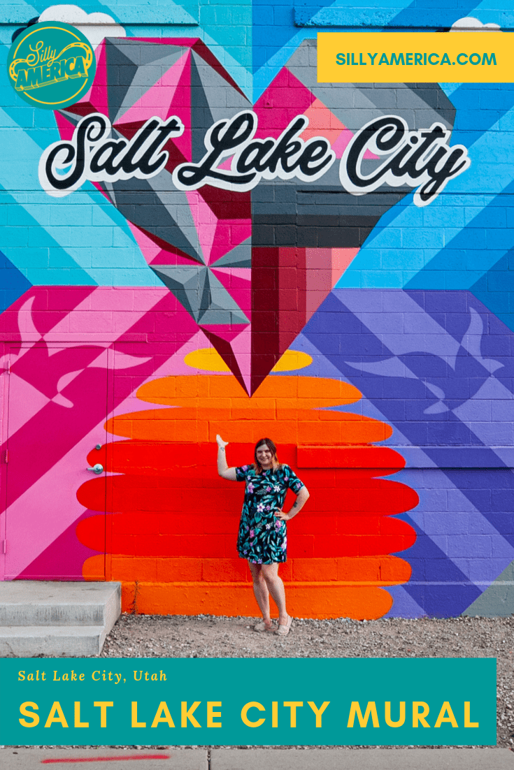 "The Salt Lake City Mural is a colorful homage to the Utah city, with a large geometric heart with ""Salt Lake City"" printed across it in script. Found in downtown Salt Lake City, Utah, this meaningful street art makes the perfect instagram backdrop for photos. Check out this amazing and cool painting and get photography aesthetic inspiration. #Murals #StreetArt #OutdoorMural, #PaintedMurals #meaningfulstreetart #coolstreetart #colorfulstreetart #streetartphotography #UtahTravel #SaltLakeCity"