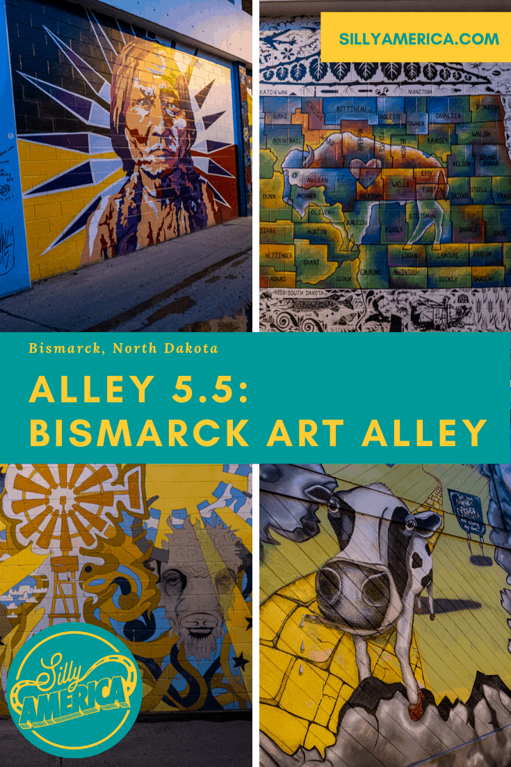 Color, community…cows. If you're looking for murals in Bismarck, North Dakota, you will find colorful street art at Alley 5.5: Bismarck Art Alley. Add this travel destination to your North Dakota road trip bucket list to visit on a vacation or road trip. #NorthDakotaRoadsideAttractions #NorthDakotaRoadsideAttraction #NorthDakotaRoadTrip #NorthDakotaRoadTripBucketLists #NorthDakotaBucketList #ThingsToDoInNorthDakota