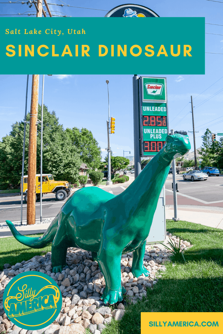 On road trip through ten states, I hit the Sinclair dinosaur goldmine. I found several, including this Sinclair Dinosaur in Salt Lake City, Utah. Find this weird roadside attraction for yourself on a Utah road trip and make sure finding Sinclair dinosaurs is on your road trip bucket list. #UtahRoadsideAttractions #UtahRoadsideAttraction #RoadsideAttractions #RoadsideAttraction #RoadTrip #UtahRoadTrip #UtahBucketList #UtahRoadTripItinerary #UtahRoadTripPictures #WeirdRoadsideAttractions