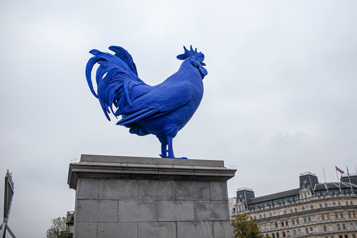Katharina Fristc's Hahn/Cock - a big blue rooster -  in Trafalgar Square in London, England.