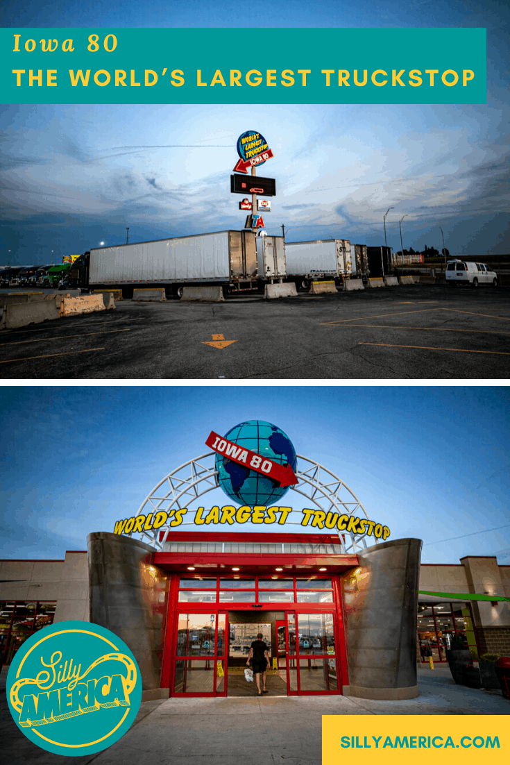 You should stop at Iowa 80, the world's largest truckstop, at the Illinois border even if you have a full tank. It's an Iowa roadside attraction in itself. Stop for gas or a snack on your Iowa road trip next time you travel through the state. #IowaRoadsideAttractions #IowaRoadsideAttraction #RoadsideAttractions #RoadsideAttraction #RoadTrip #IowaRoadTrip #IowaThingsToDo #IowaRoadTripBucketLists #IowaBucketList #IowaRoadTripIdeas #IowaWaterfallsRoadTrip #IowaTravel
