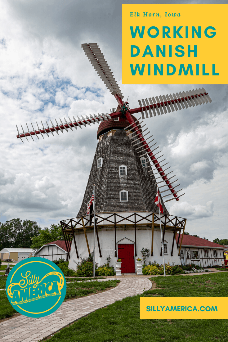 Why is there a Danish Windmill in Elk Horn, Iowa? Elk Horn, the largest Danish settlement in the United States shipped it from Norre Snede, Denmark in 1976. Visit this Iowa roadside attractions on your next Iowa road trip. Add it to your travel bucket list and your itinerary of things to do and places to visit on vacation. #IowaRoadsideAttractions #RoadsideAttractions #RoadTrip #IowaRoadTrip #IowaThingsToDo #IowaRoadTripBucketLists #IowaBucketList #IowaRoadTripIdeas #IowaTravel