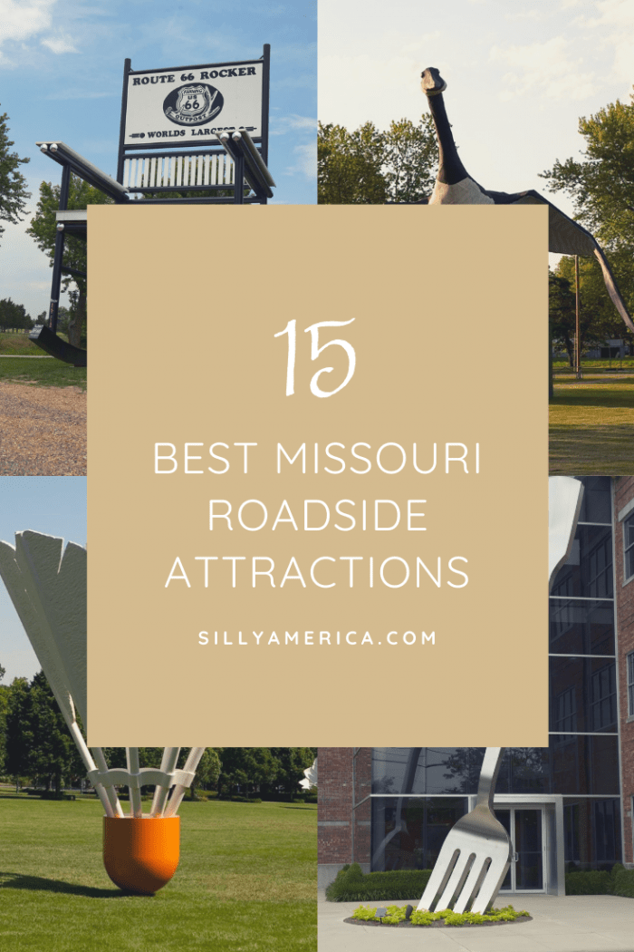 The best Missouri roadside attractions to visit on a road trip to St. Louis, Kansas City, or Route 66. Check out these Missouri attractions and oddities on a Missouri road trip and add them all to your travel itineraries, maps, and bucket lists. Fun road trip stops for kids and adults! #MissouriRoadsideAttractions #MissouriRoadsideAttraction #RoadsideAttractions #RoadsideAttraction #RoadTrip #MissouriRoadTrip #PlacestoVisitinMissouri #WeirdRoadsideAttractions #RoadTripStops