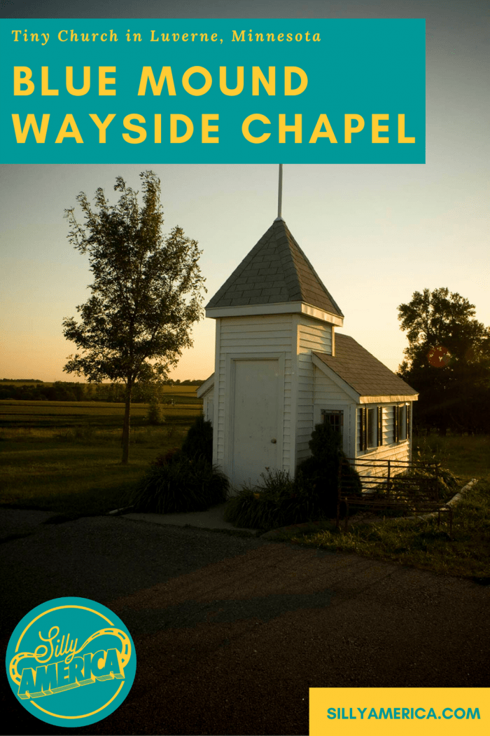Blue Mound Wayside Chapel is a tiny church in Luverne, Minnesota that offers a place to rest, to reflect, to feel at peace to weary travelers. Visit this Minnesota roadside attraction on a road trip through the state and add it to your travel itinerary and map!  #MinnesotaRoadsideAttractions #MinnesotaRoadsideAttraction #RoadsideAttractions #RoadsideAttraction #RoadTrip #MinnesotaRoadTrip #MinnesotaRoadTripBucketLists #MinnesotaBucketList #MinnesotaRoadTripIdeas #WeirdRoadsideAttractions