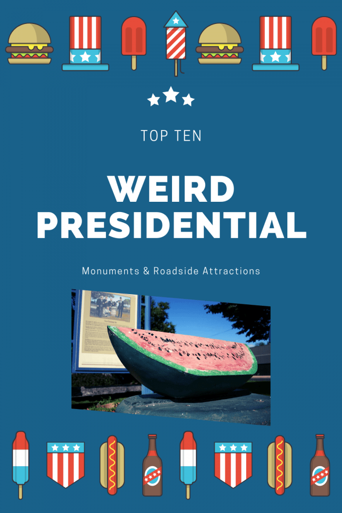 An Abraham Lincoln watermelon, a Jimmy Carter peanut, giant president heads, and a wax museum. Check out these weird presidential monuments & roadside attractions of United States presidents on your next great American road trip. Add these weird roadside attractions to your travel itinerary and road trip bucket lists! #RoadsideAttraction #RoadsideAttractions #WeirdRoadsideAttractions #RoadTripStops #RoadTrip #USARoadsideAttractions #AmericanRoadsideAttractions #USA #America