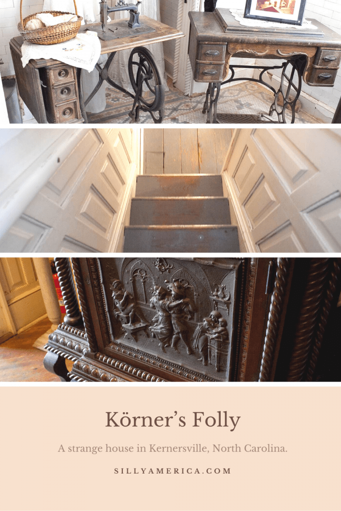 "Jule Korner's Körner's Folly is the ""Strangest House in the World"" in Kernersville, North Carolina with 3 floors, 7 levels, and 22 rooms. Visit this weird roadside attraction on a North Carolina vacation or road trip. A fun stop for your travel itinerary! #NorthCarolinaRoadsideAttractions #NorthCarolinaRoadsideAttraction #RoadsideAttractions #RoadsideAttraction #RoadTrip #NorthCarolinaRoadTrip #NorthCarolinaRoadTripTravelGuide #NorthCarolinaTravelGuide #weirdroadsideattractions #roadtripstops"