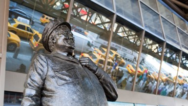 Ralph Kramden Statue of Jackie Gleason from the Honeymooners at the New York City Port Authority Bus Terminal