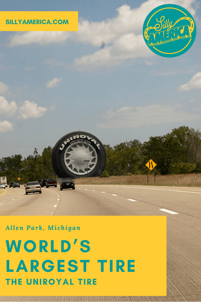 This Michigan roadside attraction certainly doesn't fall flat! It's the World's Largest Tire in Allen Park, Michigan, AKA the giant Uniroyal tire.Originally a ferris wheel at the New York World Fair. Visit this Detroit roadside attraction on your Michigan road trip! #MichiganRoadsideAttractions #MichiganRoadsideAttraction #RoadsideAttractions #RoadsideAttraction #RoadTrip #MichiganRoadTrip #MichiganRoadTripPlacesToVisit #MichiganRoadTripIdeas #MichiganRoadTripDestinations