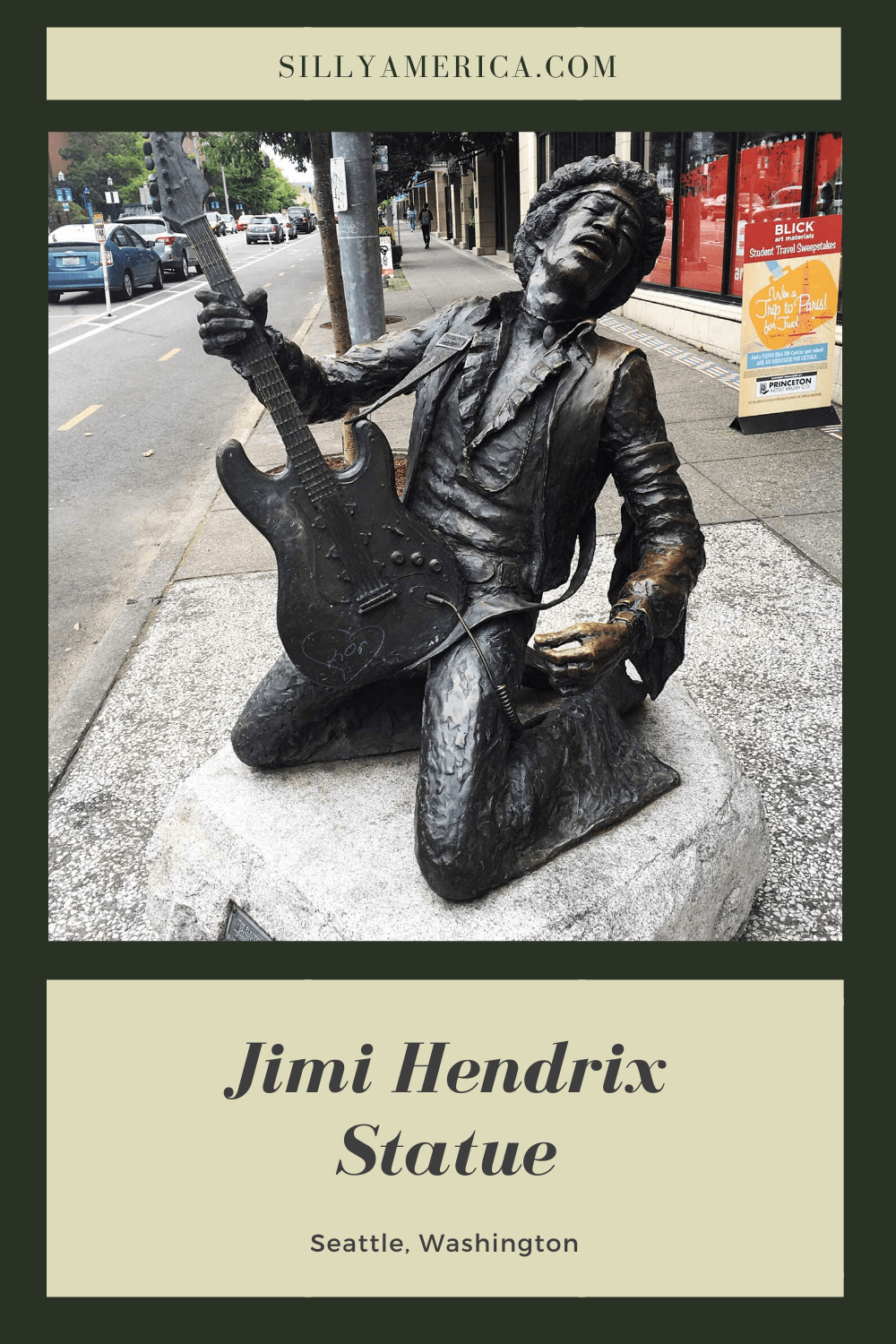 The Electric Lady Studio Guitar - the bronze Jimi Hendrix Statue in Seattle, Washington was unveiled in 1997 as a tribute to the guitarist and rock legend. Visit this Seattle tourist attraction for photography ops on a Washington road trip or Seattle vacation. #WashingtonRoadsideAttractions #WashingtonRoadsideAttraction #RoadsideAttractions #RoadsideAttraction #RoadTrip #WashingtonRoadTrip #WashingtonRoadTripMap #WashingtonRoadTripBucketLists #WashingtonBucketList #SeattleRoadTrip