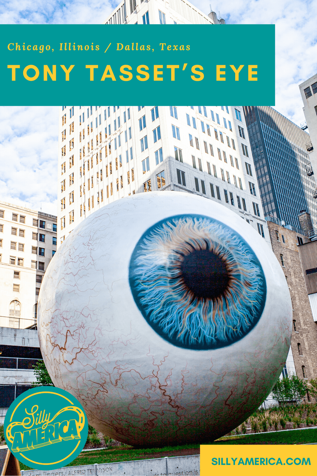 Tony Tasset's Eye, a giant fiberglass eyeball at the Joule Hotel in Dallas, Texas was originally erected in Chicago, Illinois and constructed by FAST Fiberglass in Wisconsin. #RoadsideAttraction #RoadsideAttractions #WeirdRoadsideAttractions #VintageRoadsideAttractions #RoadTripStops #WorldsLargestRoadsideAttractions #RoadTrip #USARoadsideAttractions #AmericanRoadsideAttractions #USA #America #Texas #DallasTexas #TexasRoadsideAttractions #TexasRoadsideAttraction #TexasRoadTrip #TexasRoadTripMap