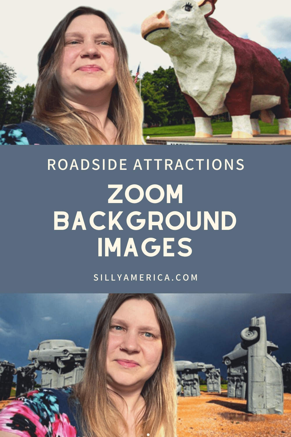 If you're a roadtripper who wishes you were behind the wheel instead of working from home, try these Zoom background images of roadside attractions as a virtual teleconference backdrop while you work from home. #WorkFromHome #Zoom #ZoomBackgrounds #ZoomBackdrops #RoadsideAttraction #RoadsideAttractions #WeirdRoadsideAttractions #VintageRoadsideAttractions #RoadTripStops #WorldsLargestRoadsideAttractions #RoadTrip #USARoadsideAttractions #AmericanRoadsideAttractions #USA #America