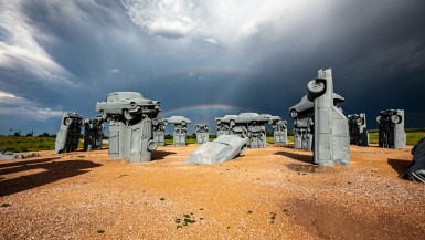 Carhenge - Roadside Attraction Zoom Background Images for video conferencing backdrops.