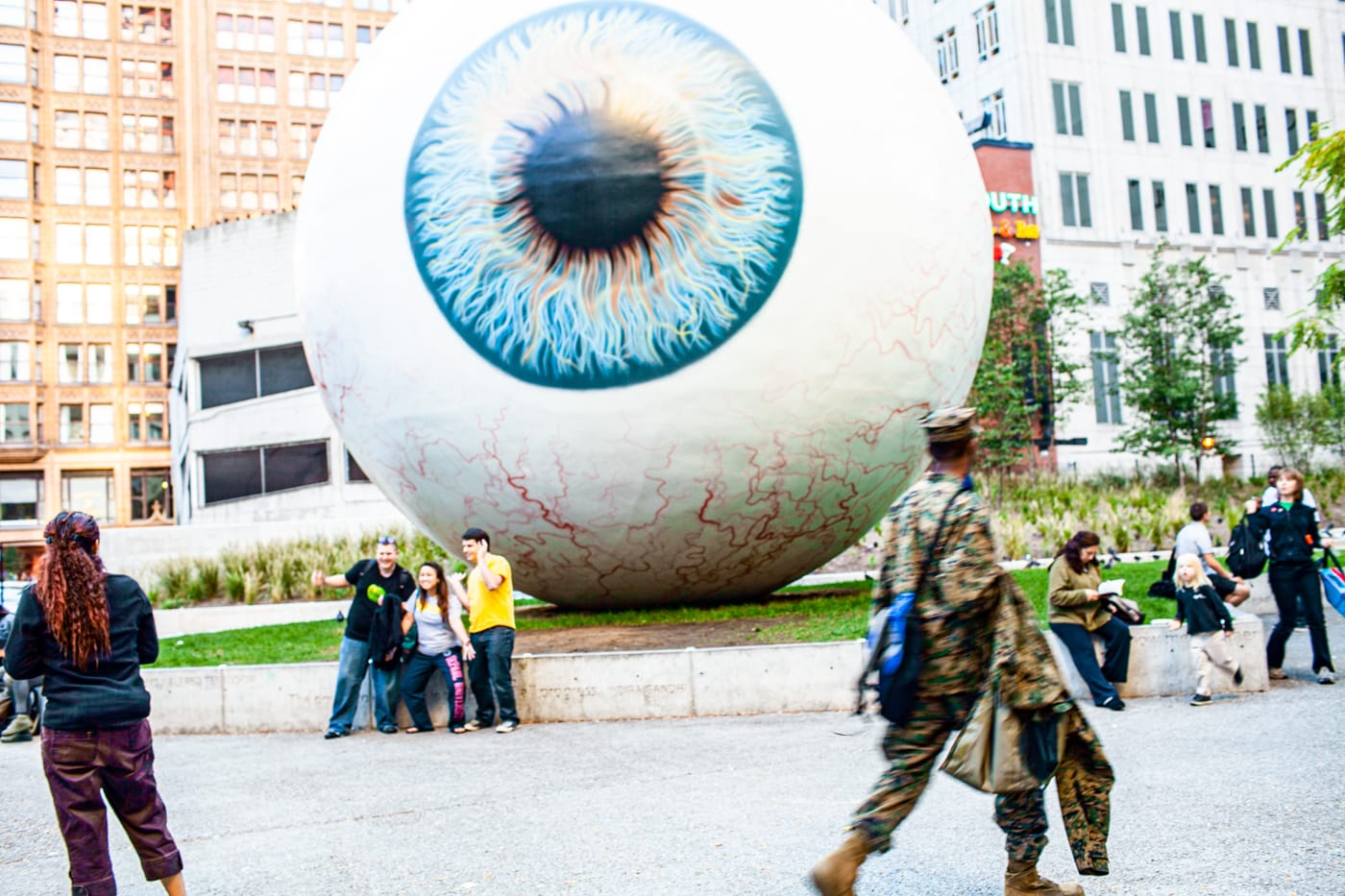 Tony Tasset's Eye - giant fiberglass eye in Chicago, Illinois in 2010 (Now in Dallas, Texas)