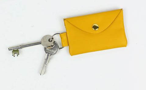 Suede&Co Leather Coin Bag Keychain
