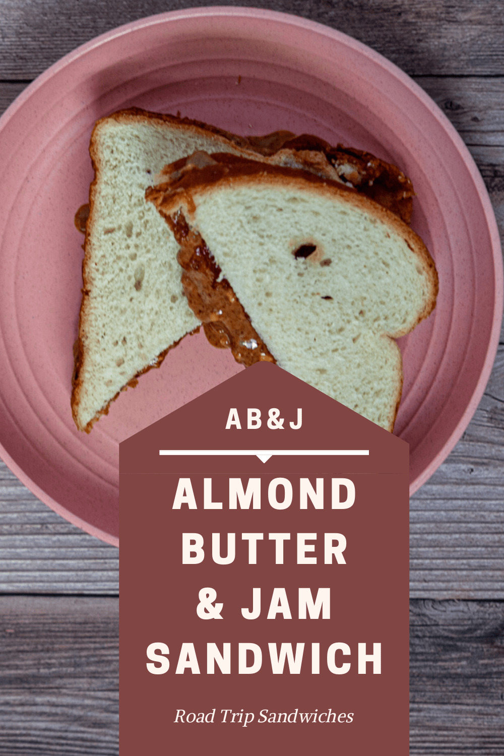 A classic PB&J road trip sandwich made special with the use of almond butter. Of course, a classic peanut butter and jelly sandwich works too! This is definitely a crowd pleaser that will appease everyone in your car for a quick and easy lunch. Plus, if you're looking for vegetarian sandwiches that travel well, you can't go wrong with AB&J or PB&J! #RoadTripMealsToPack #RoadTripMealsForFamilies #MakeAheadRoadTripMeals #CheapRoadTripMeals #RoadTripLunches #EasyRoadTripMeals #RoadTripMealsForKids