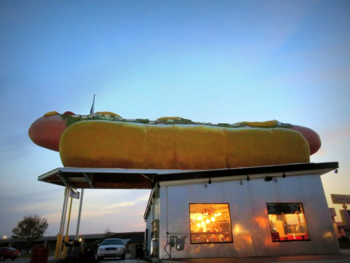 Weird roadside attractions - Wienerlicious giant hot dog in Mackinaw City, Michigan.