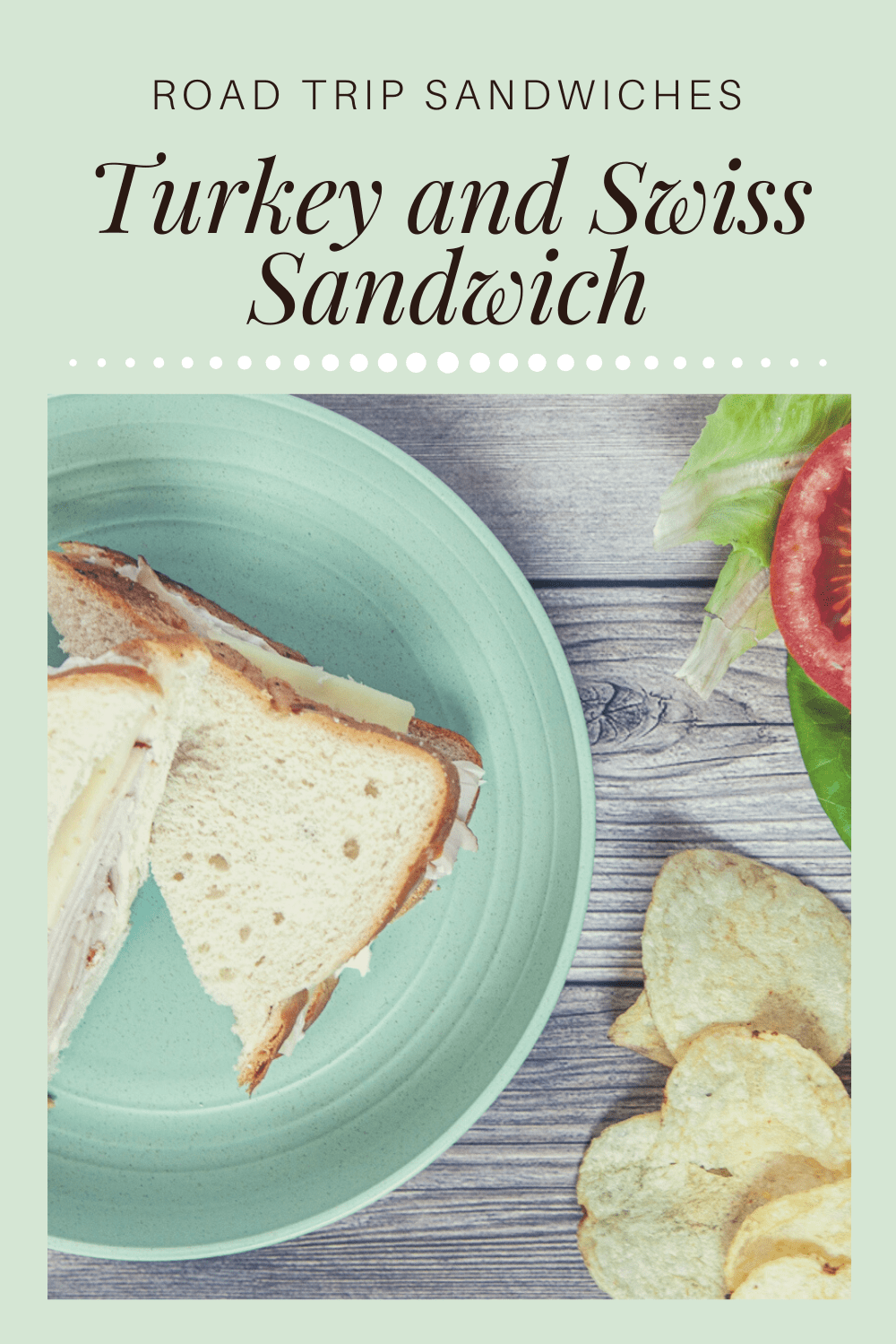 A deli turkey and Swiss sandwich is a crowd pleaser and an easy sandwich to pack for a road trip. For this basic meat and cheese road trip sandwich recipe use smoked turkey and Swiss cheese on white bread, but you can mix it up with any combo of deli meats, cheeses, breads, or condiments! Try roast beef, chicken, ham, cheddar, provolone, wheat bread, mustard - whatever combo you desire! #RoadTripMeals #RoadTripMealsToPack #MakeAheadRoadTripMeals  #CheapRoadTripMeals #RoadTripLunches