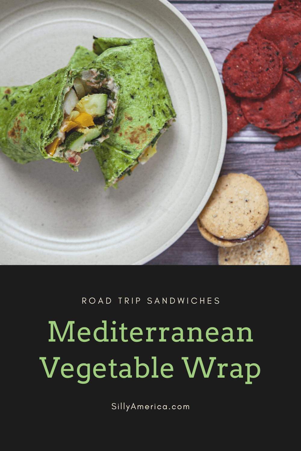 This flavorful vegetarian road trip sandwich is sure to please everyone in the car. Roast the vegetables for this Mediterranean Vegetable Wrap beforehand to assemble wraps or keep them separate in an air-tight container. In a pinch, raw vegetables will be just as tasty! #RoadTripMeals #RoadTripMealsForAdults #RoadTripMealsToPack #RoadTripMealsForFamilies #MakeAheadRoadTripMeals #CheapRoadTripMeals #RoadTripLunches #EasyRoadTripMeals #RoadTripMealsForKids  #RoadFood #RoadFoodIdeas #RoadTripFood