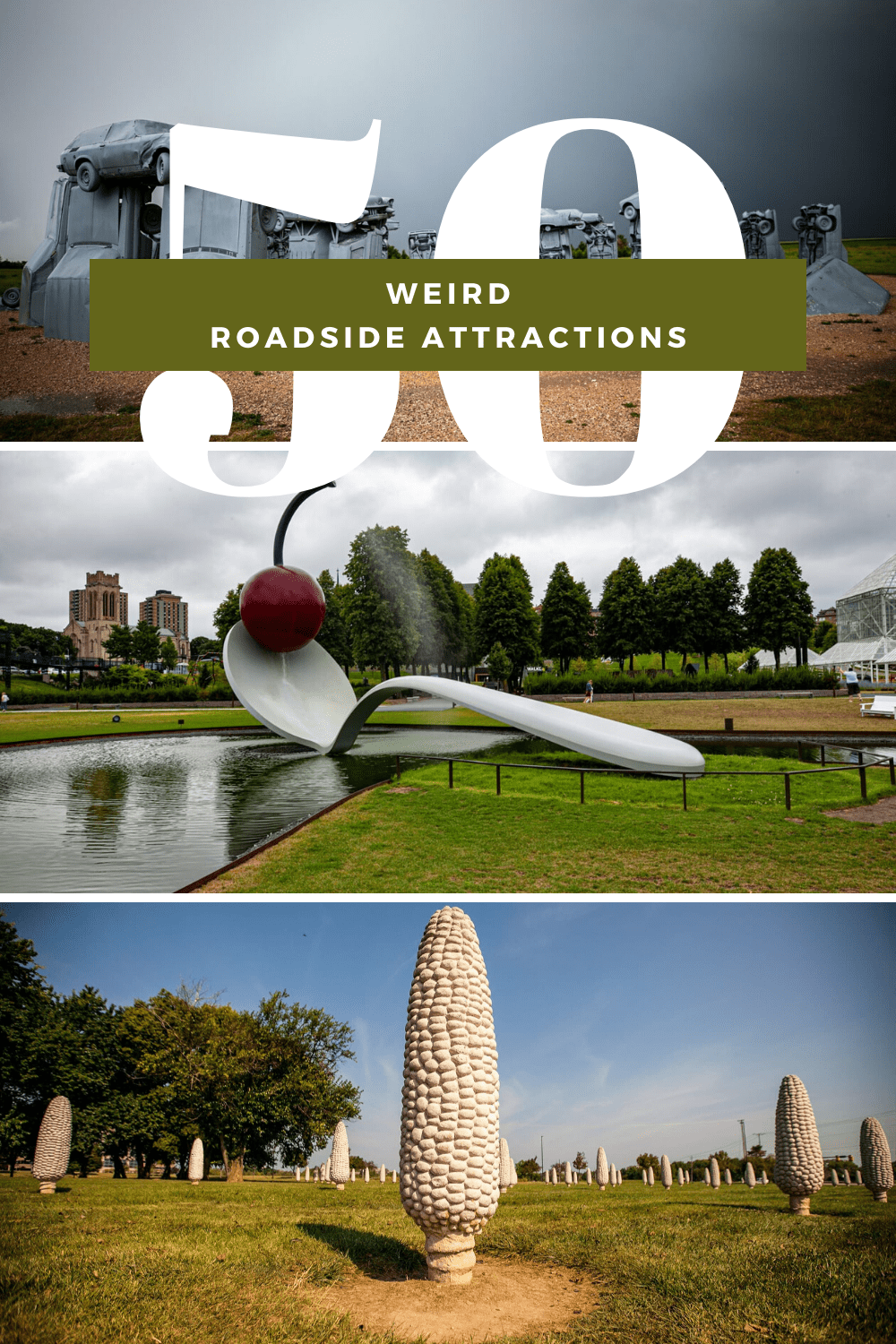 These weird roadside attractions make for fun stops on your next American road trip. Visit world's largest things, quirky outdoor art, and other oddities on a road trip around the United States! #RoadsideAttraction #RoadsideAttractions #WeirdRoadsideAttractions #VintageRoadsideAttractions #RoadTripStops #WorldsLargestRoadsideAttractions #RoadTrip #USARoadsideAttractions #AmericanRoadsideAttractions #USA #America