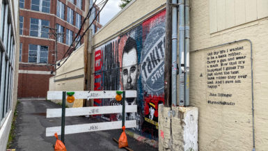 John Dillinger Alley where the gangster was gunned down in Chicago, Illinois. John Dillinger Mural in Chicago.