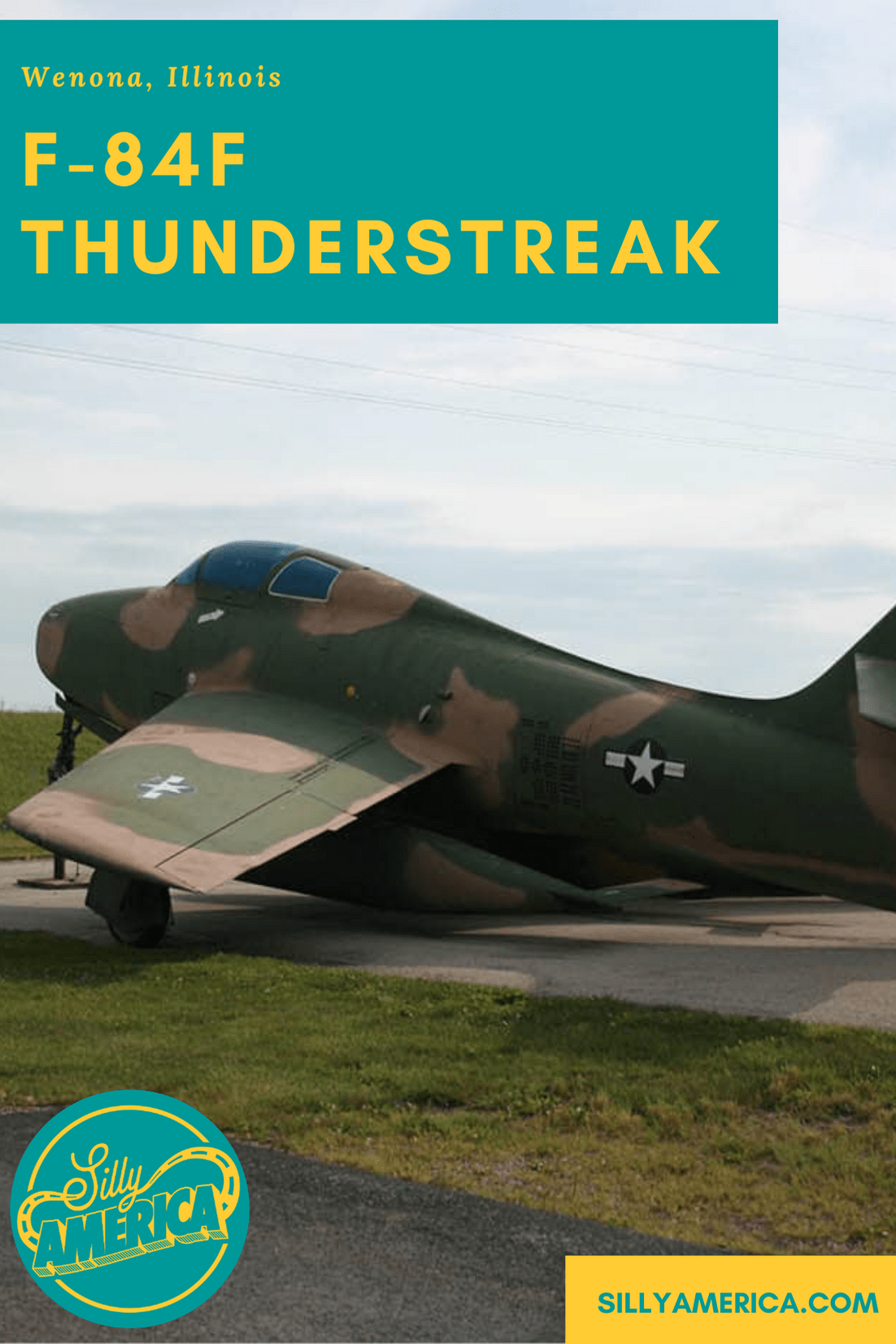 An old F-84F Thunderstreak fighter jet can be found in a motel parking lot in Wenona, Illinois. The camouflaged airplane is a fun site to see outside of the Wenona America's Best Value Inn (formerly a Best Western, formerly a Super 8). Before living at the motel, the parking lot jet plane could be found at various locations around town since the late 1960s/early 1970s. #IllinoisRoadsideAttractions #IllinoisRoadsideAttraction #RoadsideAttractions #RoadsideAttraction #RoadTrip #IllinoisRoadTrip