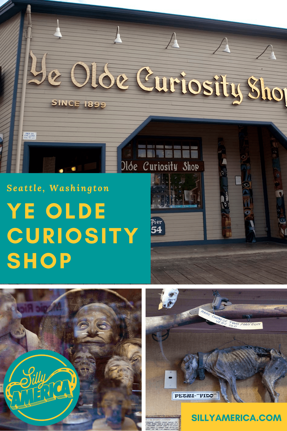 Ye Olde Curiosity Shop in Seattle, Washington is a must-see destination for lovers of the weird. The shop and oddity museum opened in 1899.  #WashingtonRoadsideAttractions #WashingtonRoadsideAttraction #RoadsideAttractions #RoadsideAttraction #RoadTrip #WashingtonRoadTrip #WashingtonRoadTripMap #WashingtonRoadTripBucketLists #WashingtonBucketList #WashingtonWinterRoadTrip #SeattleRoadTrip #Seattle #SeattleWashington