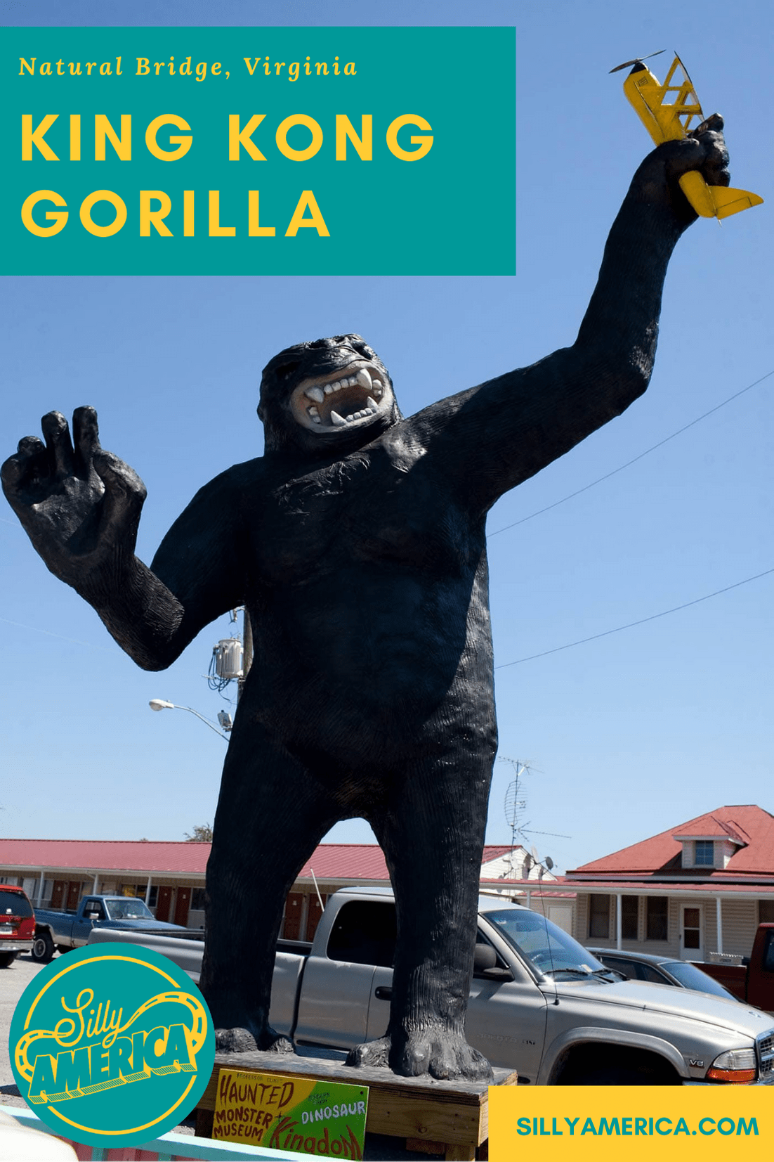 Giant King Kong Gorilla at Pink Cadillac Diner in Natural Bridge, Virginia. The Mark Cline roadside attraction is now at Dinosaur Kingdom II. #VirginiaRoadsideAttractions #VirginiaRoadsideAttraction #RoadsideAttractions #RoadsideAttraction #RoadTrip #VirginiaRoadTrip #VirginiaRoadTripBucketLists #VirginiaBucketList #VirginiaRoadTripIdeas