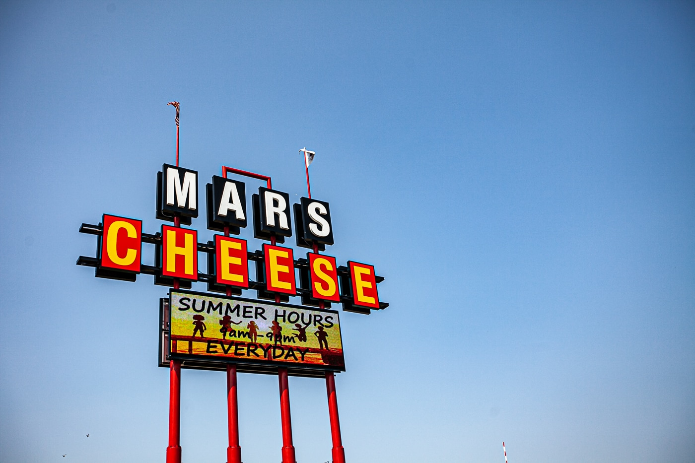 Giant sign for Mars Cheese Castle in Kenosha, Wisconsin off I-94